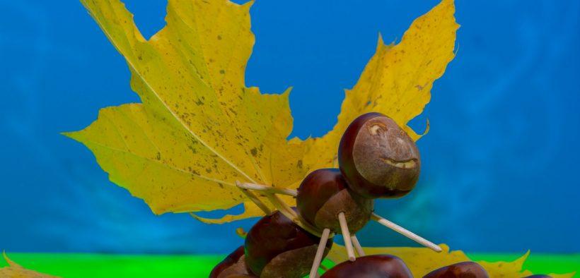 Basteln im Herbst - Kastanientiere