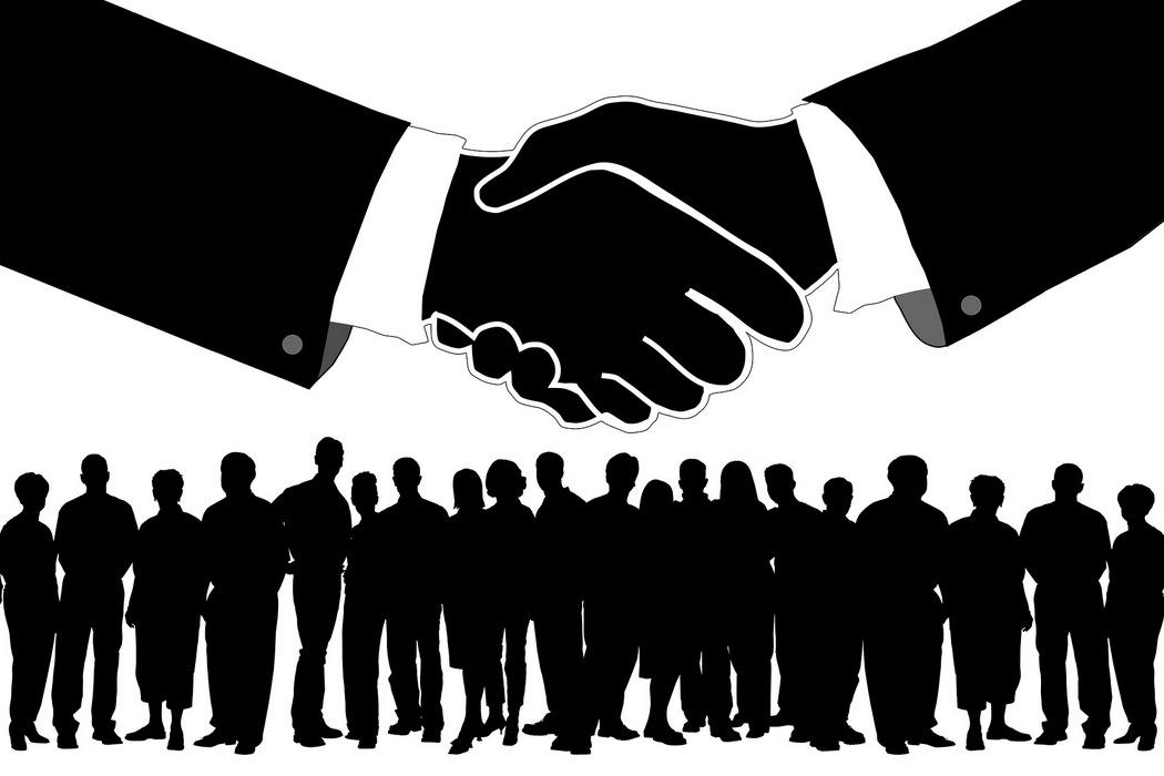 Betriebsklima - Handschlag, Belegschaft